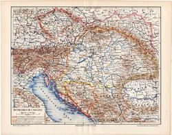 Osztrák - Magyar Monarchia politikai térkép 1896, német nyelvű, eredeti, Magyarország, politika