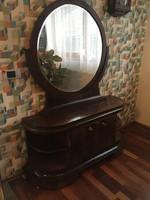 Art deco dió furnéros fésülködő szekrény kerek tükörrel