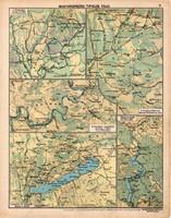 Magyarország tipikus tájai, térkép 1913, eredeti, Magyarország, iskolai atlasz, Balaton, Hegyalja