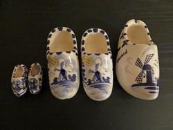 Holland, Delft kézzel festett, fajansz papucsok, együtt 5 darab