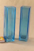 Kék üveg art deco váza pár 426