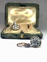 Antik arany és gyémánt fülbevaló pár