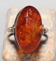 Orosz Borostyán Aranyozott Ezüst Gyűrű Fémjelz.875 és a Mikron Aranyozásra Vonatkozó Fémjelzés is