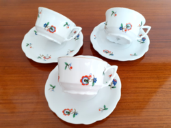 Régi Zsolnay porcelán teás csésze 3 db
