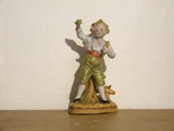 Régi, antik szépen festett biszkvit porcelán fiú figura, mini ibolya váza pici sérüléssel