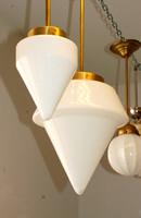 Art deco réz mennyezeti lámpa szett (4 darabos) - kúpos tejüveg búra