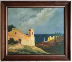 """Gádor Emil """"Izraeli táj"""" c. olajfestmény eredeti keretében ingyen postával"""