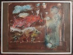 Tóth Ernő: Álom, 1983 - nagy méretű olajfestmény, eredeti keretében
