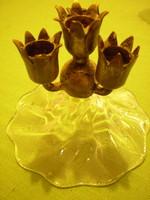 Régi 4 ágú réz/üveg gyertyatartó 9x8  cm. hibátlan
