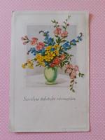 Régi virágos képeslap 1947 levelezőlap