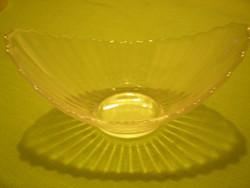 GLAS ovális nyomott mintás csónak alakú tál kínáló 17x10x8  cm. hibátlan