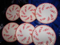 6 db antik Sarreguemines porcelánfajansz tányér  18,5 cm (3000 FT/ db)