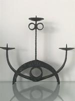 Retro iparművèszeti gyertyatartó kovàcsolt vasból, 22 cm magas