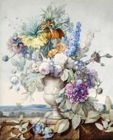 Színes virágcsokor vázában csendélet rózsa gerbera kockásliliom P.J. Redouté 1810 REPRODUKCIÓ nyomat