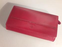 Piros Emporio Valentini bőr sok rekeszes pénztárca brifkó