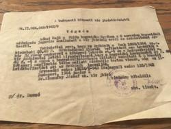 Értesítés a Budapesti központi királyi bíróságtól 1944-ből