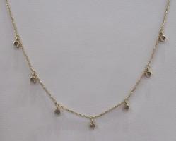 Arany nyaklánc 7 darab rögzített cirkón kővel