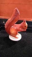 Hollóházi porcelán mókus szobor, 14 cm-es magasságú