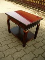 Eredeti antik különleges Art Deco fiókos asztalka bársony betéttel és üveglappal kb.1930