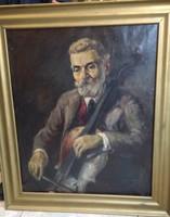 Gordonkás, festmény, olaj, vászon,85 x 65 cm-es nagyságú.