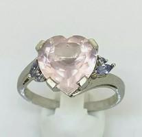 Rozsakvarc- tanzanit drágaköves   sterling ezüst /925/ gyűrű 67 nagy méret !--új