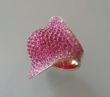18karátos 2 színű arany gyűrű ritkaságnak számító eredeti natúr rózsaszínű zafírokkal  briliánssal