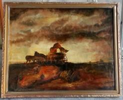 Munkácsy után: Vihar a pusztán. Roskó Gábor 1980-ban festett képe.Több díjas festő, egyetemi docens