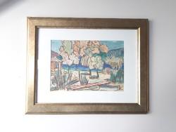Korényi Attila kortárs festő monotípia akvarell vegyes technika Balaton 1989. keret nélkül