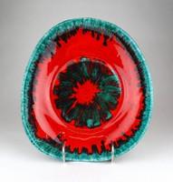 1D314 Jelzett retro piros zöld Liszkay iparművészeti kerámia falitál 26.5 cm