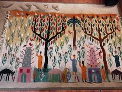 Címkével jelzett, kézzel készült kilim, falikárpit vagy szőnyeg, 200 x125 cm, csodálatos színekkel