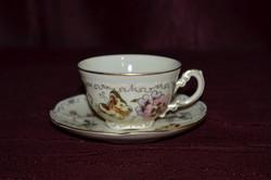 1 szett Zsolnay pillangó mintás kávés csésze és alj