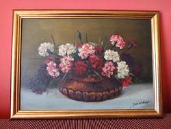 Mesterházy Dénes virágcsendélet olajfestmény