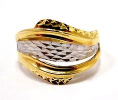Kő nélküli sárga-fehér arany gyűrű (ZAL-Au95395)