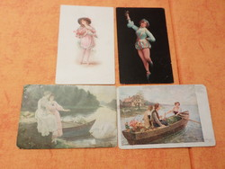 1/ Hattyú etetése,  használt lap: 1918., 2/ Tavaszi csónakázás  Használt lap: 1921. 3/ Padödö,