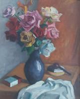 """RÓZSÁK PIPÁVAL (olaj-vászon csendélet 60x50 cm, """"Félegyházy"""" jelzéssel) virágok, színes, váza asztal"""