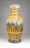 1D318 Retro sárga szürke iparművészeti kerámia váza 30 cm