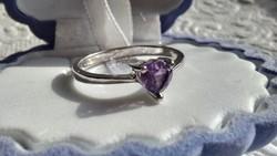 Ametiszt 925 ezüst gyűrű 57