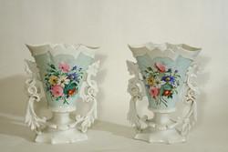 Cseh Porcelán Virágos Vázapár 25x19,5cm 2db Váza Virágmintával
