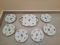 Antik Herendi Viktória mintás porcelán süteményes készlet