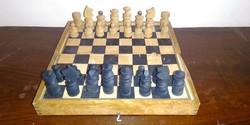 Antik fa sakk eredeti sakktábla dobozában