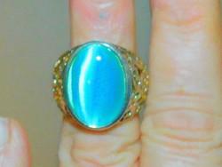 Kék Macskaszem köves Díszes Tibeti kézműves Gyűrű 7-es