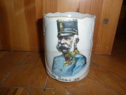 Antik ferenc józsef háborús porcelán emlék bögre