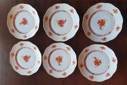 6 db Herendi Apponyi orange süteményes tányér 20,5 cm-es