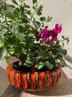 Iparművészeti retro mázas kerámia kaspó, virágtartó   27 cm