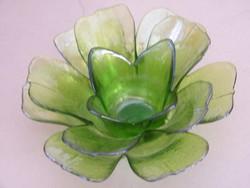Különleges, több rétegű üveg virág asztali dísz, mécsestartó