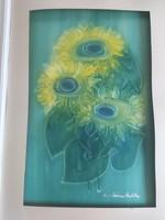 MACSKÁSSY IZOLDA: Csendélet (selyemkollázs, 60x40 cm) napraforgók vázában, virág, kortárs, modern