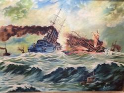 Nagyméretű tengeri csatajelenet, ismeretlen szignó! Olaj-vászon, EREDETI GARANCIÁVAL.