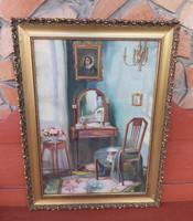 Gyönyörű Enteriőr festmény  szék virágtartó Fésülködő asztal virágcsokor  Nosztalgia