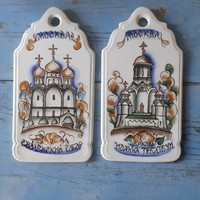 Nagyon szép kézzel festett orosz kerámia falidísz