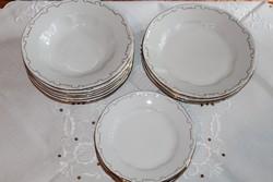 Zsolnay barokk tollazott tányérkészlet 18 db